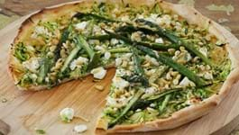 Helen's Pizza of Asparagus, Courgettes, Pine Nuts and Goat's Cheese